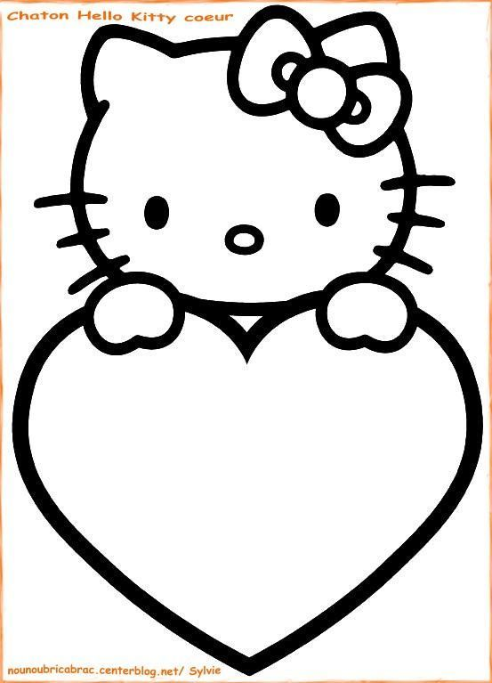Chaton hello kitty coeur colorier - Dessin de hello kitty facile ...